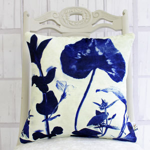 Cyanotype Botanical Stems Print Cushion - whatsnew