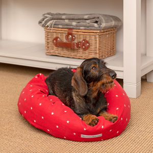Cranberry Stars Cotton Dog Beds
