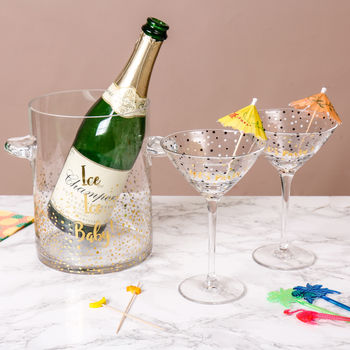 Luxury Gold Champagne Glasses And Ice Bucket Gift Set