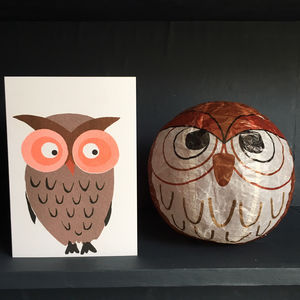 Owl Paper Balloon Greeting Card