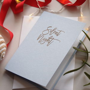 Silent Night Foil Christmas Card - cards