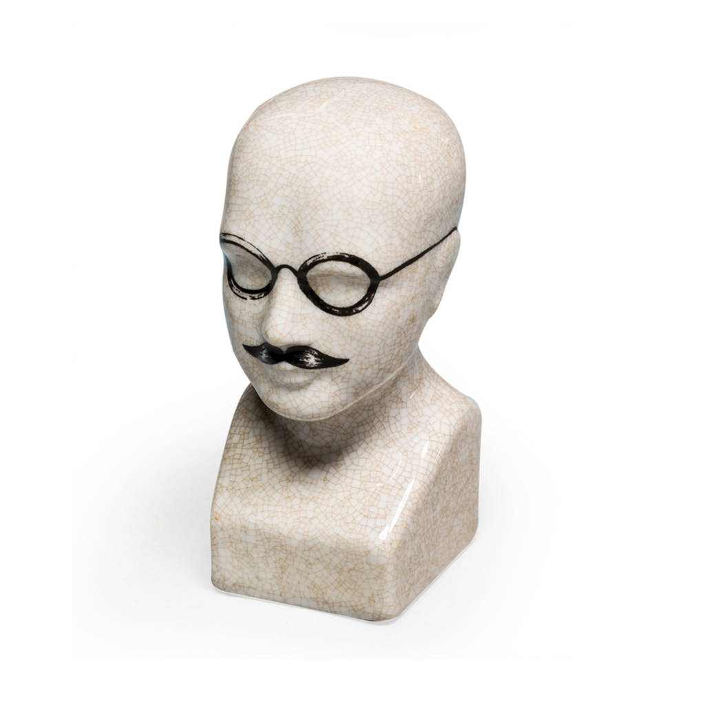 Ceramic Phrenology Head With Tash And Specs