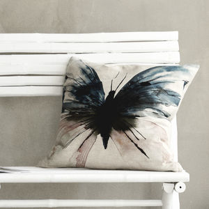 Birea Linen Watercolour Butterfly Cushion - cushions