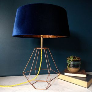 Navy Velvet Deco Lamp - dining room