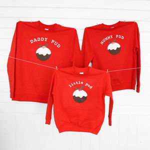 Daddy, Mummy And Little Pud Family Christmas Jumpers - children's jumpers