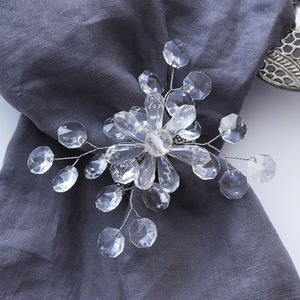 Set Of Four Crystal Snowflake Napkin Rings - winter sale