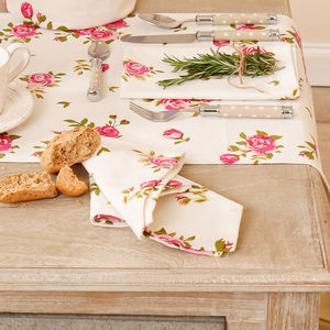Helmsley Blush Floral Napkin And Table Runner Selection - table runners