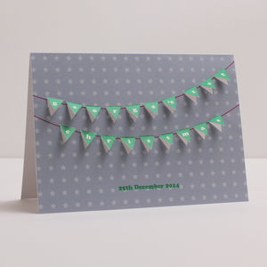 Personalised '1st Christmas' Bunting Paper Cut Card - cards