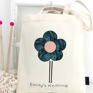 Floral Personalised Knitting Bag