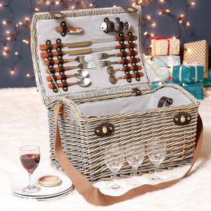 Personalised Willow Picnic Basket For Four
