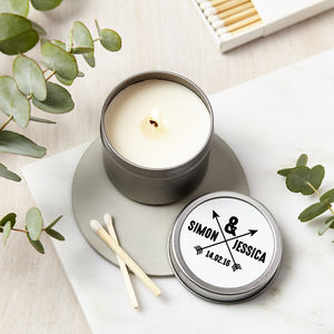 Personalised Arrow Scented Candle Tin - 10th anniversary: tin