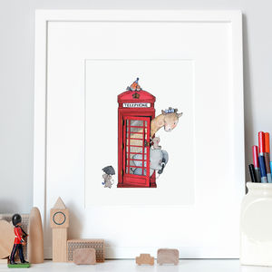 British Telephone Box Nursery Print - baby's room