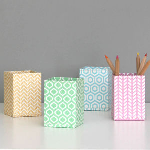 Recycled Pastel Geometric Pen Pot