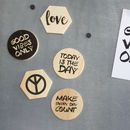 Set Of Five Inspirational Wooden Magnets
