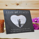 Personalised Slate Photo Frame With Heart Cut Out