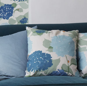 Blue Floral Hydrangea Cushion - summer home