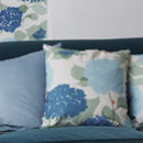 Blue Floral Hydrangea Cushion