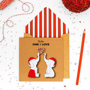 Christmas Personalised Love You Elephants Card Or Pack