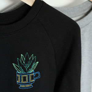 Aloe Succulent Embroidered Organic Cotton Jumper