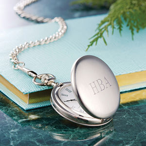 Engraved Pocket Watch With Personalised Initials - gifts for him