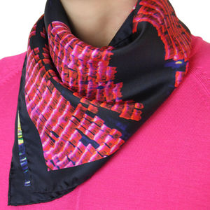 Pink And Navy Silk Scarf - scarves