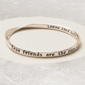 Silver Plated True Friends Message Bangle