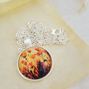 Poppies Photo Pendant Silver Plated Necklace - necklaces & pendants