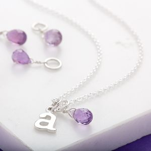 Amethyst Teardrop Necklace, February Birthstone - necklaces & pendants