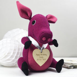 Personalised Soft Toy Pig For Birthdays