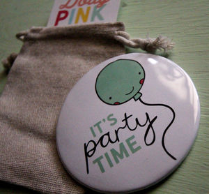 Balloon Pocket Mirror 78mm 'It's Party Time'