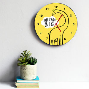 Dream Big Giraffe Clock - children's decorative accessories