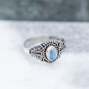 Dainty Rainbow Moonstone Sterling Silver Ring - rings