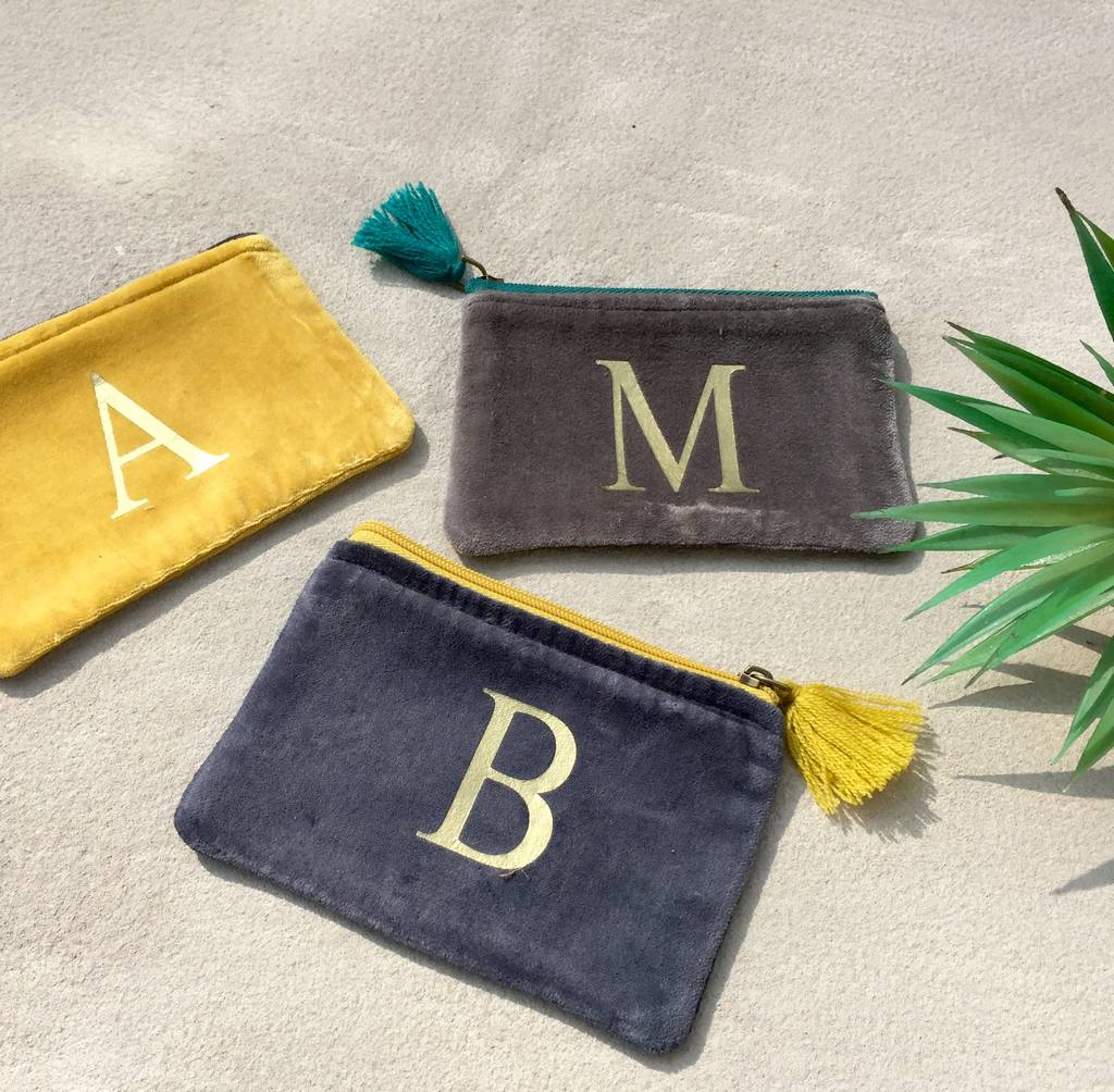 Velvet Purse With A Gold Letter