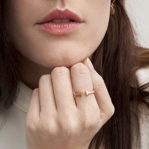 Rose Gold Dual Bar Ring - rings