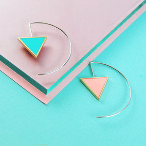 Double Sided Pastel Silver Hoop Earrings