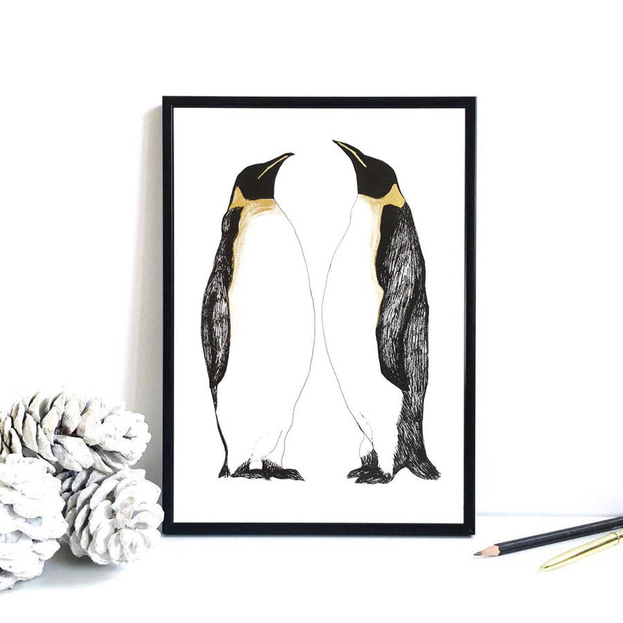 Penguin Print With Handpainted Metallic Detailing