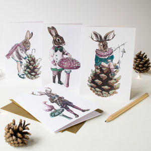 Fairy Tale Rabbit Christmas Cards With Glitter