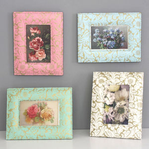 Recycled Gold Floral Photoframe - picture frames