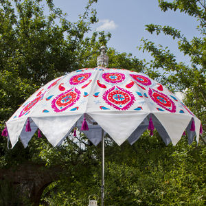Embroidered Cotton Indian Inspired Garden Parasol - gardener