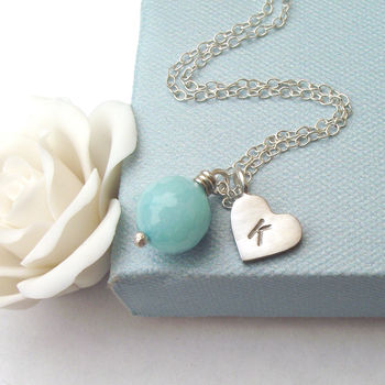 Personalised Jade And Heart Initial Necklace