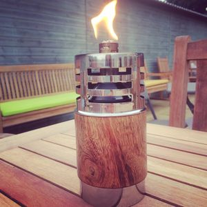 Wooden And Stainless Steel Garden Oil Lamp Three Sizes
