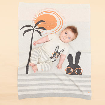 Misfit Knit Palm Tree And Bunny Jaquard Baby Blanket