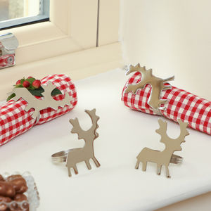 Set Of Four Silver Reindeer Christmas Napkin Rings - dining room