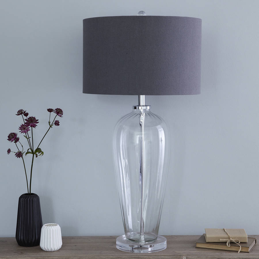 Fluted Glass Table Lamp And Slate Linen Shade By Primrose