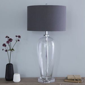Fluted Glass Table Lamp And Slate Linen Shade - lighting