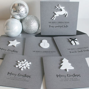 Pack Of Four Personalised Monochrome Christmas Cards - cards