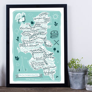 Buckinghamshire County Map Print - posters & prints