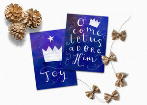 Pack Of Four Joy And Adore Holiday Cards - cards