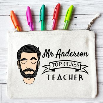 Personalised Top Class Teacher Pencil Case For Him