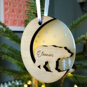 Starry Polar Bear Bespoke Christmas Tree Decoration